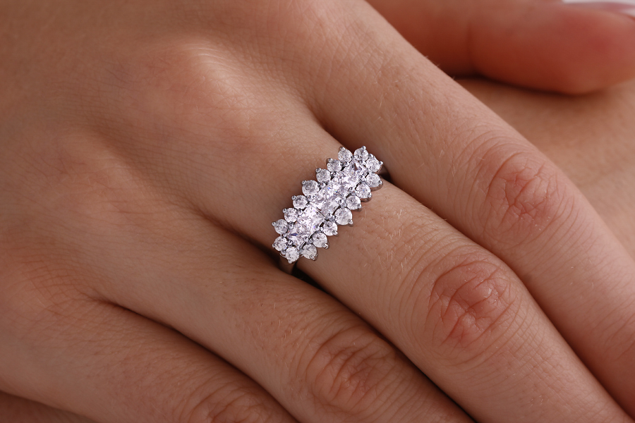 Dress Cocktail Ring/Cluster Engagement Ring for Women in 18ct white gold with princess cut central diamonds and round diamonds surrounding-img1