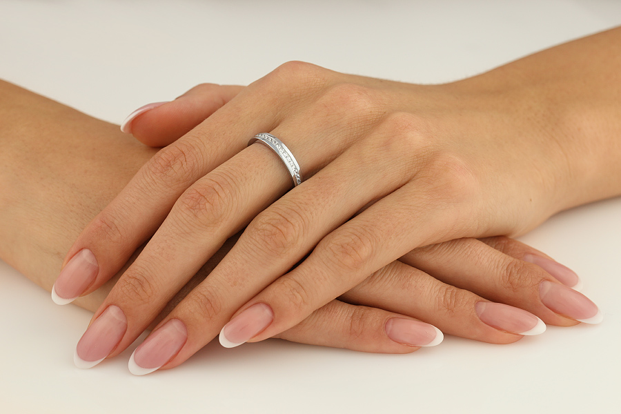 Verigheta cu Diamant Dama Aur Alb 18kt cu 16 Diamante Princess-img1