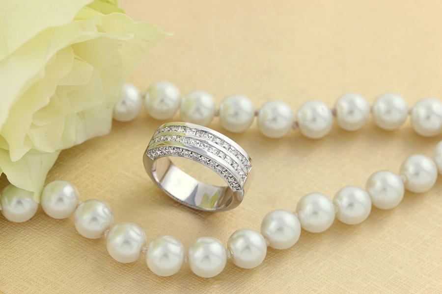 Verigheta cu Diamant /Inel Semi Eternity Dama Aur Alb 18kt cu Diamante Princess in 2 Randuri si Diamante Rotunde pe Margini-img1