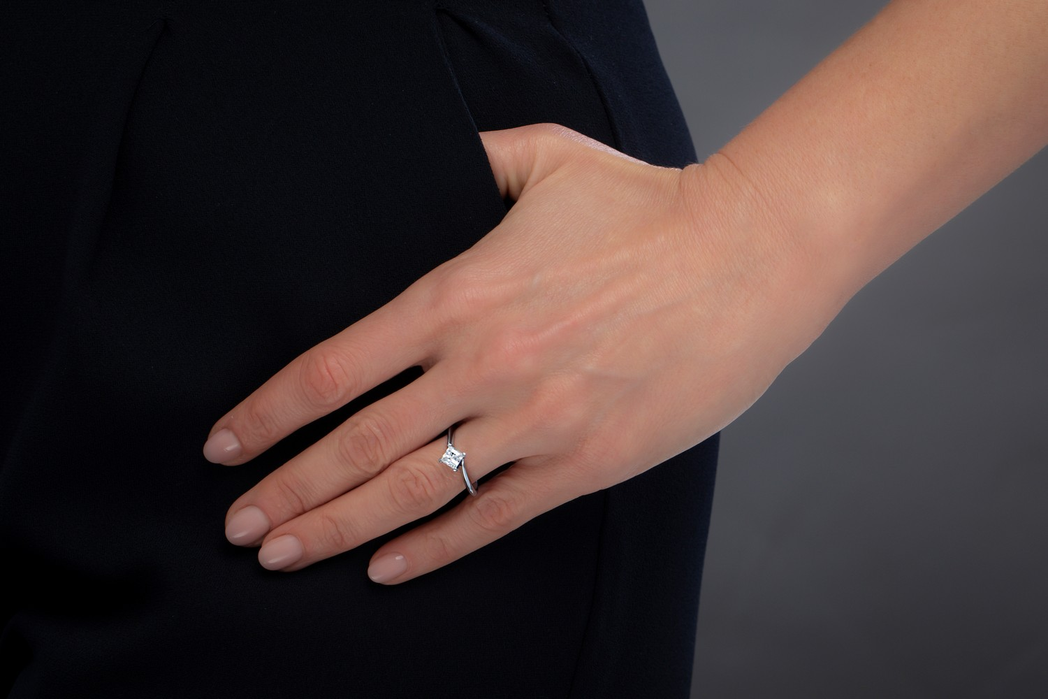 Single Stone Twist Engagement Ring for Women in 9ct White Gold with a Princess Cut Diamond in a 4-claw Setting-img1