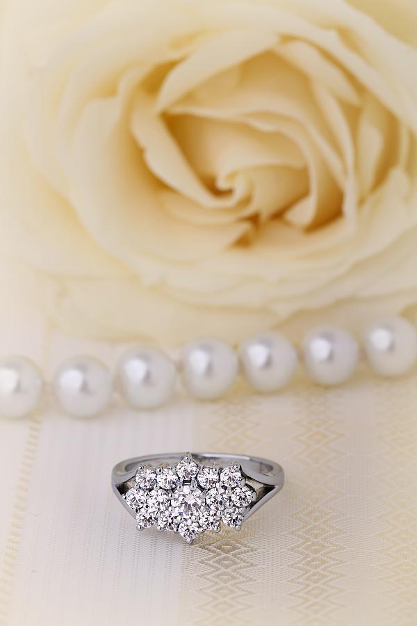 Inel Cocktail cu Diamante/Inel de Logodna Dama Aur Alb 18kt cu Diamante Rotund Briliant-img1