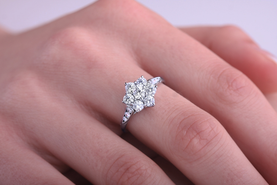 women nl gold flower engagement rings wedding white daisy bezel with ring diamond jewelry wg in