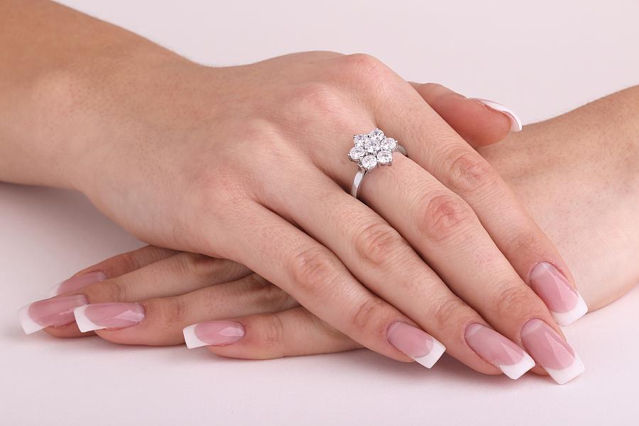 Inel de logodna cu Diamante Dama Platina cu 7 Diamante Rotund Briliant-img1