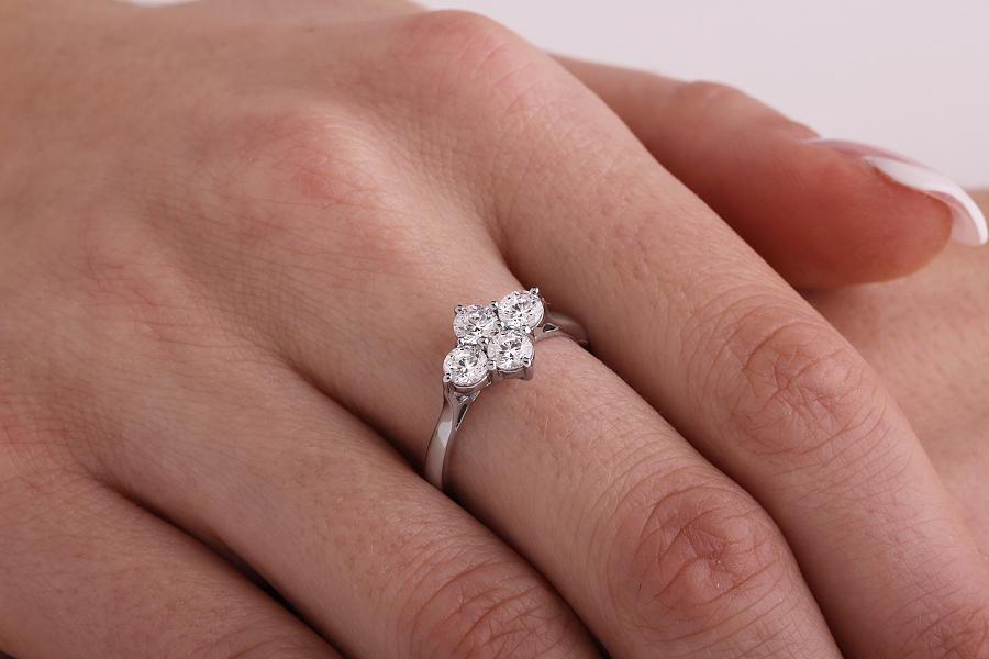 Inel Cocktail/Inel de Logodna cu Diamante Dama Platina cu 4 Diamante Rotund Briliant-img1