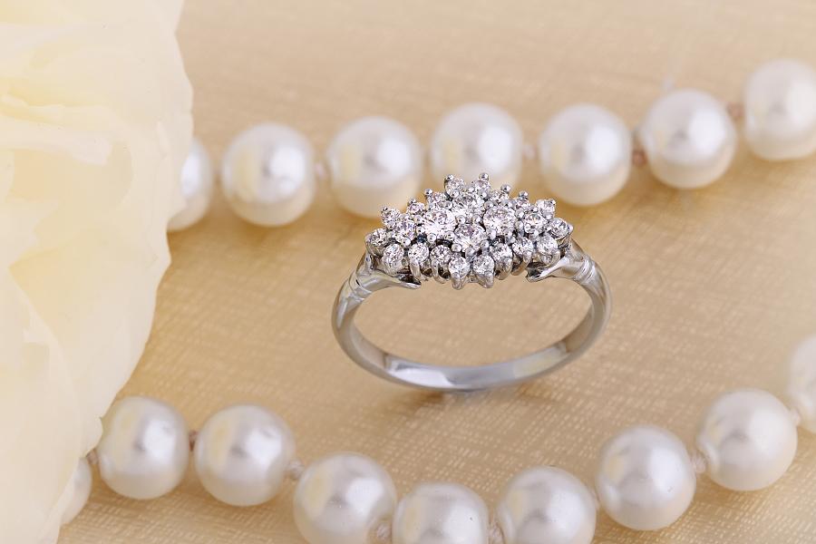 Inel Cocktail/Inel de Logodna cu Diamante Dama Aur Alb 18kt cu Diamante Rotunde-img1