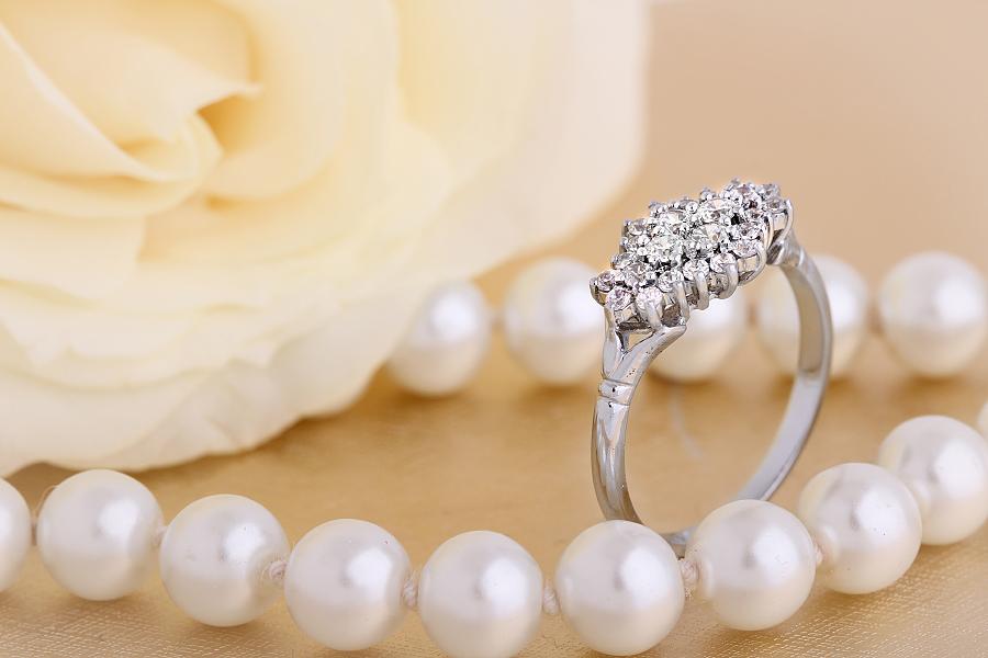 Inel Cocktail/Inel de Logodna cu Diamante Dama Platina cu Diamante Rotunde-img1