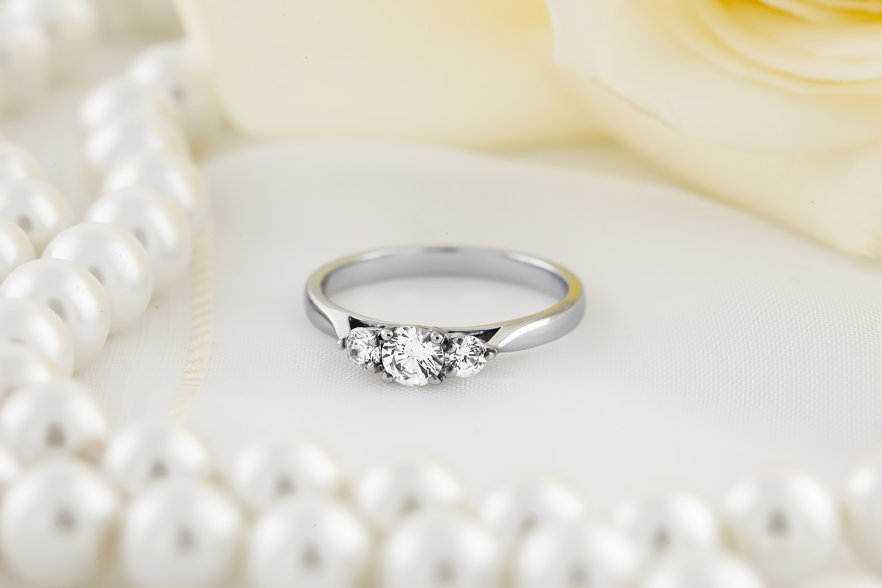 Three Stone Ring Engagement Ring For Women In Platinum With Three