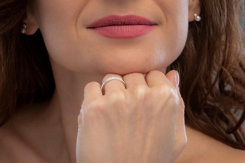 Verigheta cu Diamant/ inel eternity Dama Aur Alb, 18kt cu 19 Diamante Rotund Briliant in Setare Gheare-img1