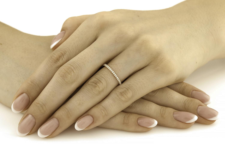 Verigheta/ inel Eternity Dama Aur Roz 18kt cu 24 Diamante Rotund Briliant-img1