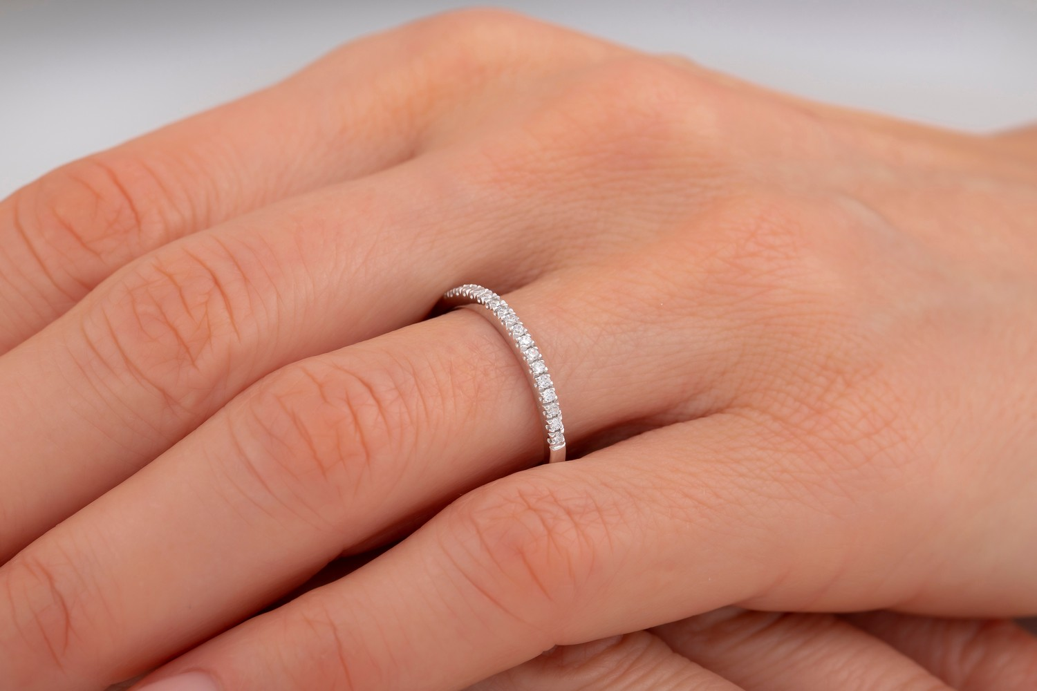 Diamond Set Eternity/Wedding Ring for Women in Palladium with 24 Round Brilliant Cut Diamonds in a Claw Setting, Width 1.6mm-img1