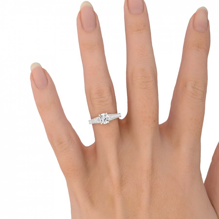 Inel de Logodna Solitaire cu Diamante Mici pe Lateral Dama Aur Alb 18kt cu un Briliant Rotund Central si Diamante Laterale Stralucitoare-img1