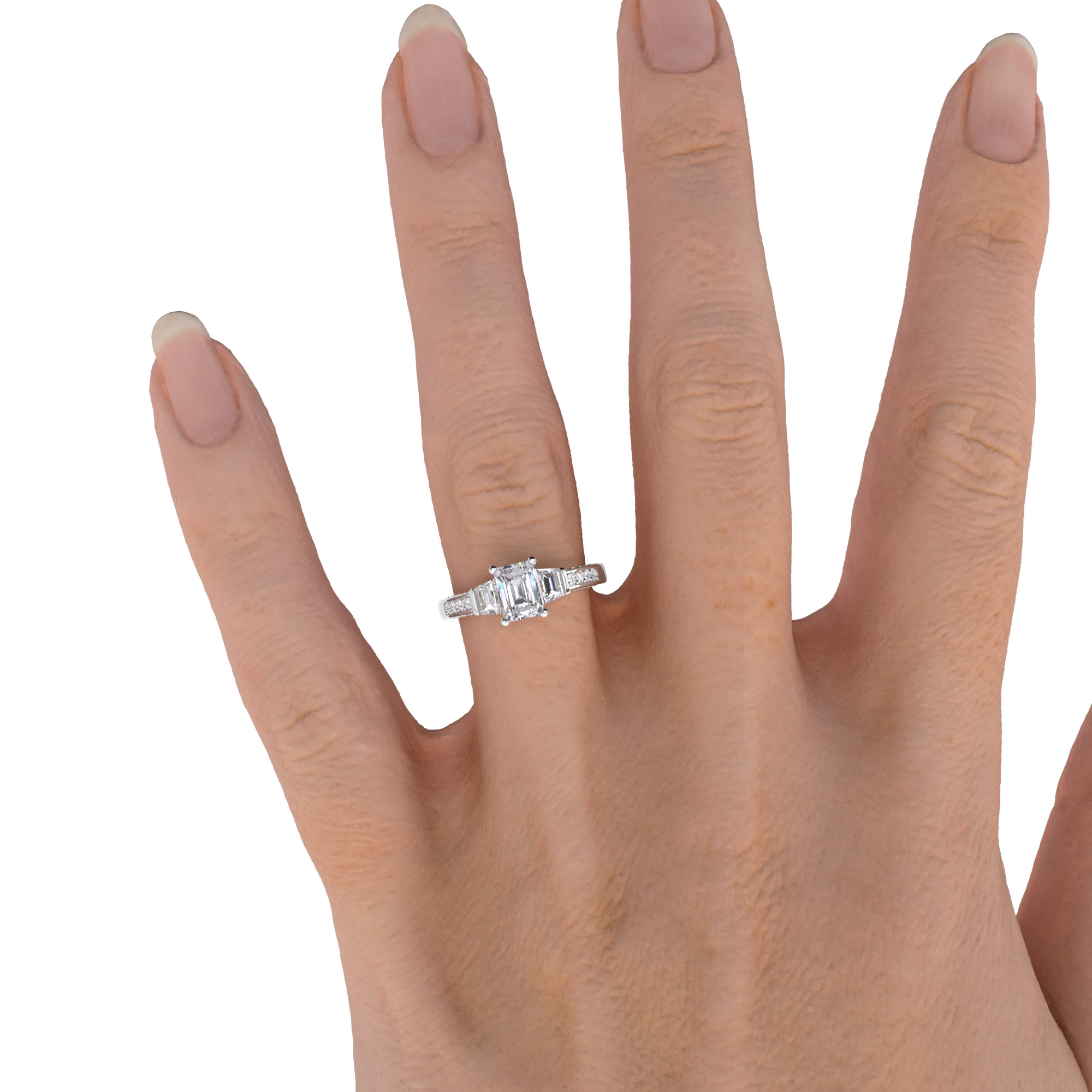 Inel de Logodna cu 3 Diamante Dama Aur Alb 18kt, cu un Diamant Central Taietura Smarald cu 2 Diamante Forma Trapez pe Margini si Diamante Mici Rotund Briliant pe Lateral-img1