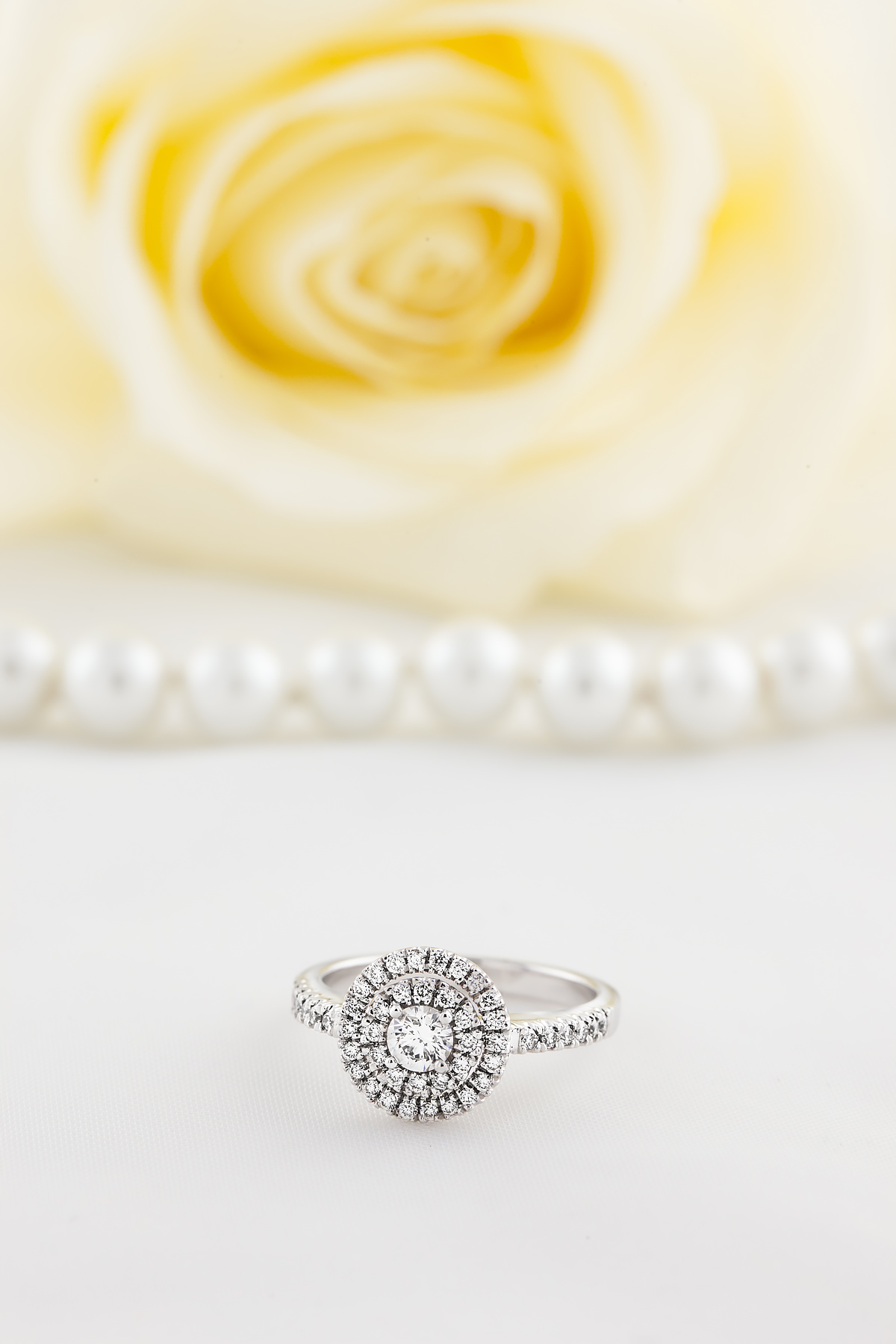 Inel Cocktail/ Inel de Logodna cu Diamante Dama Aur Alb 18kt cu Diamante Rotund Briliant Setate cu Gheare, Stil Dublu Halo-img1