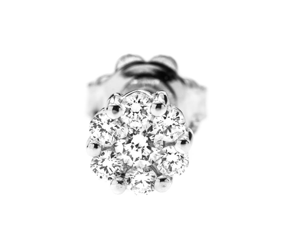 Cercei Stud din Aur Alb 18kt cu Diamante Rotunde Briliant-img1