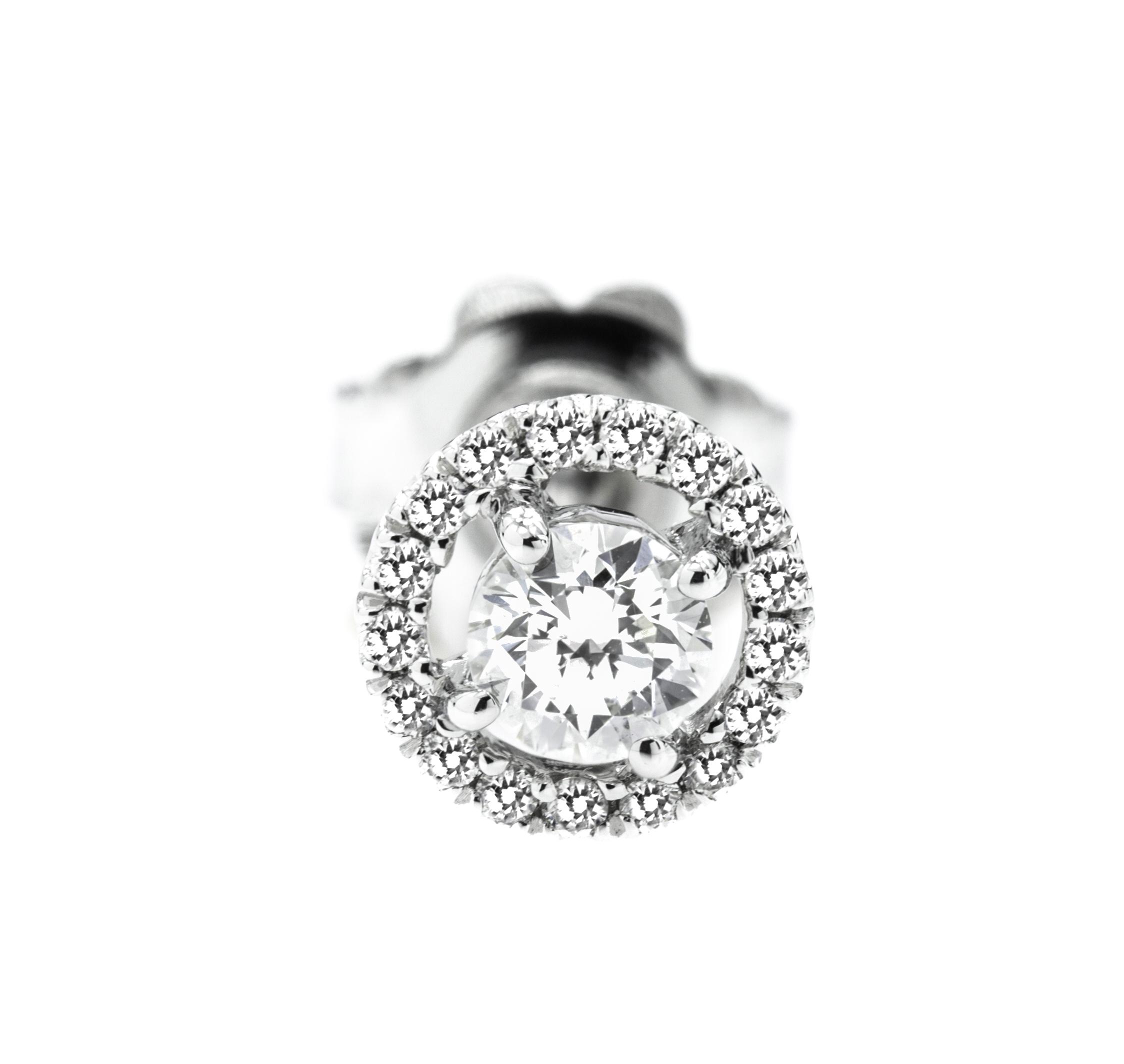 Cercei Tip Stud Aur Alb 18kt cu Diamante Rotunde Briliant, Stil Halo-img1