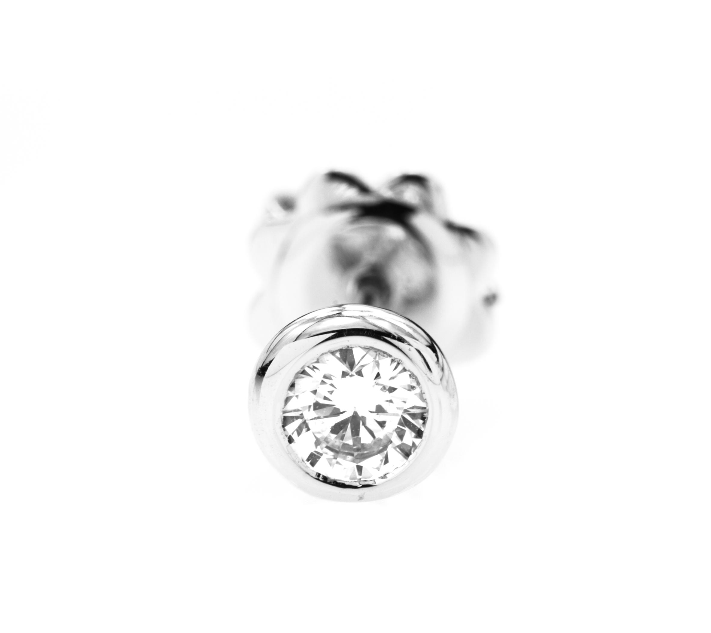 Cercei Stud Aur Alb 18kt cu Diamante Rotunde-img1