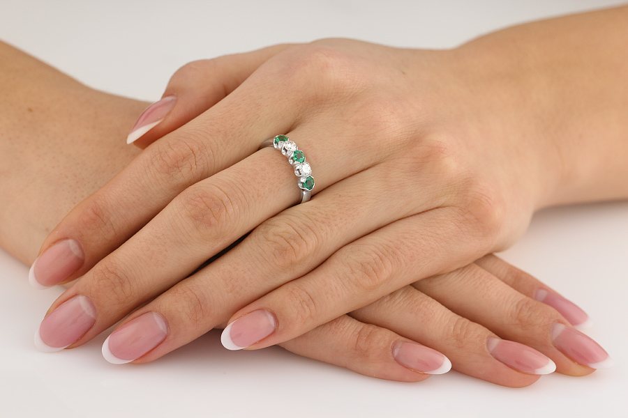 Emerald and Diamond Eternity Ring for Women in 9ct white gold with 2 diamonds and 3 emeralds-img1