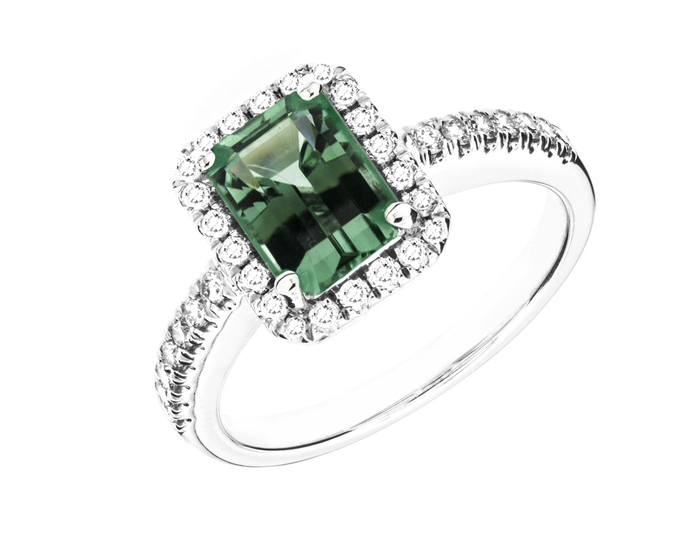 sku green emerald brilliant ring and diamond a cut round