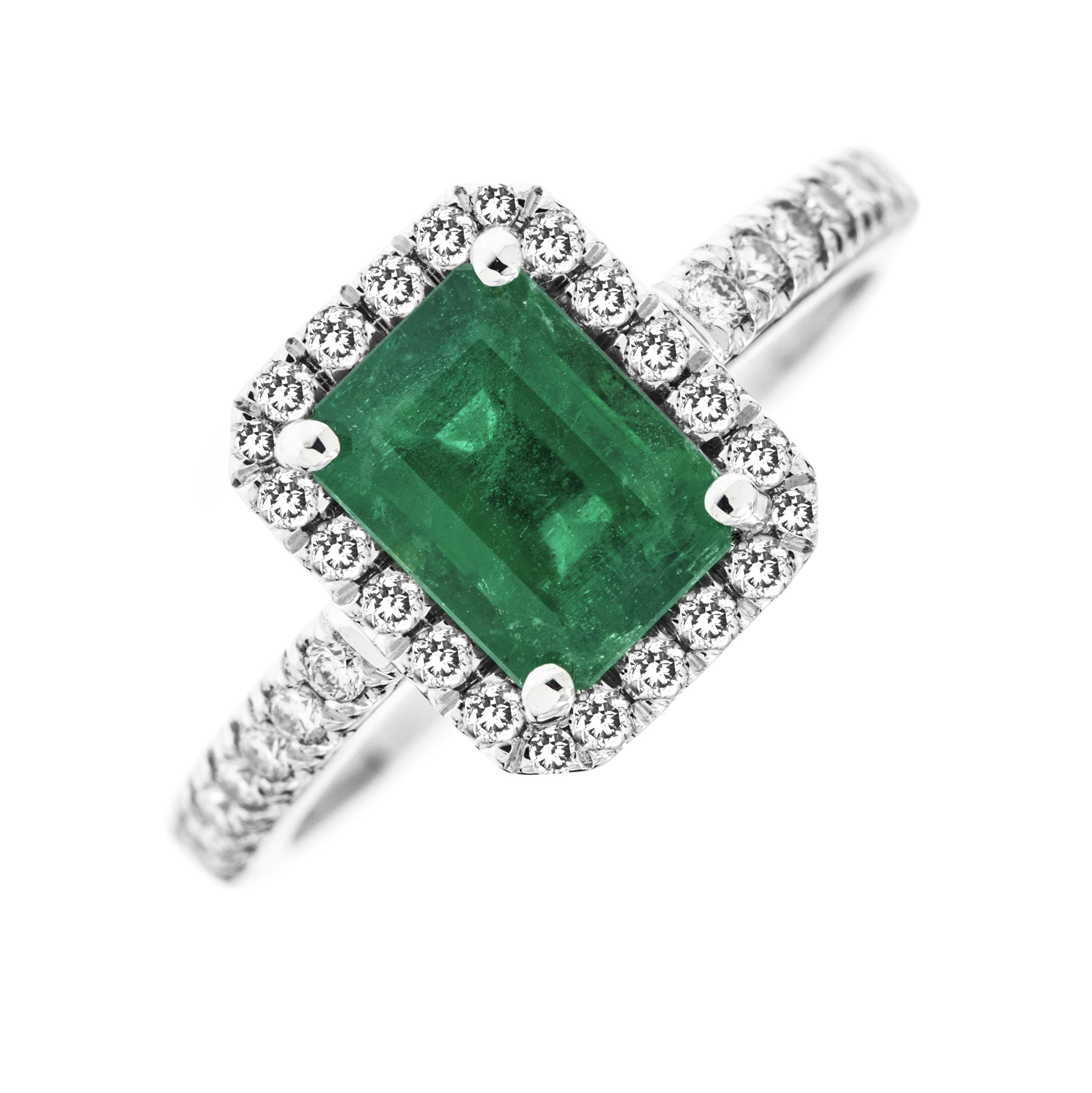 Inel cu Smarald si Diamant Dama Aur Alb 18kt cu un Smarald Taietura Smarald si Diamante Rotund Briliant Toate in Setare Gheare-img1