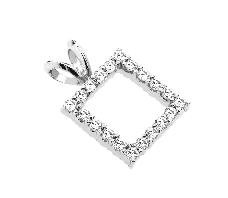 Pandantiv cu Mai Multe Diamante din Aur Alb 18kt cu Diamante Rotunde Briliant-img1