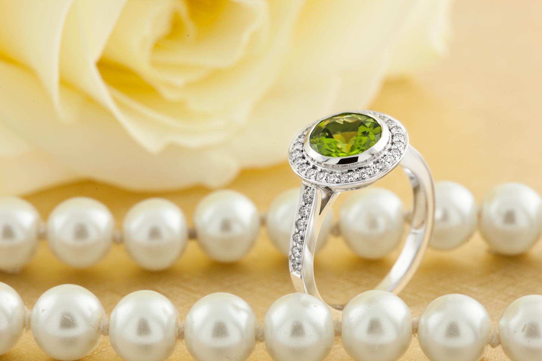 RDPER768W-Inel Dama Aur Alb 18kt cu Peridot si Diamante, Stil Halo-img1