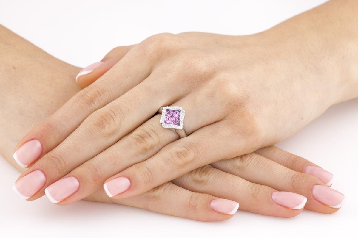 Inel Cocktail Dama Aur Alb 18kt cu Safire Roz si Diamante in Stoc-img1