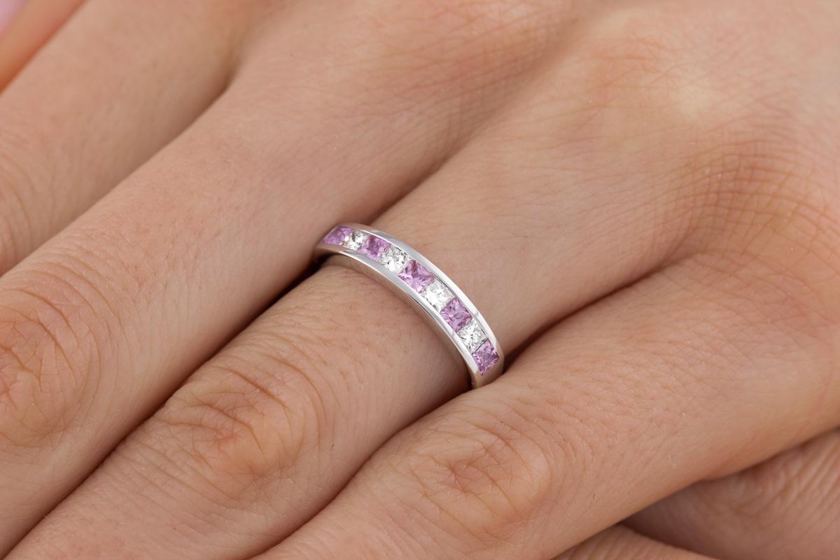 Inel cu Safir Roz si Diamant Dama Aur Alb 18kt cu 9 Pietre in Setare Tip Canal-img1