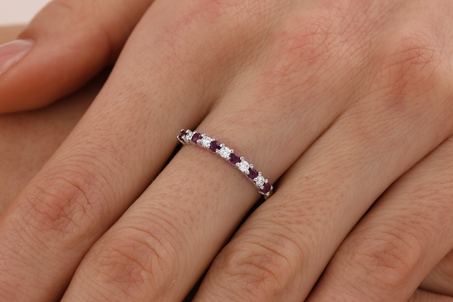 Ruby and Diamond Ring for Women in 9ct white gold with 6 round rubies and 5 round brilliant cut diamonds-img1