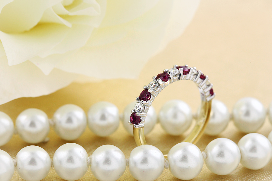 Ruby and Diamond Ring for Women in 9ct yellow and white gold with 6 round rubies and 5 round brilliant cut diamonds-img1