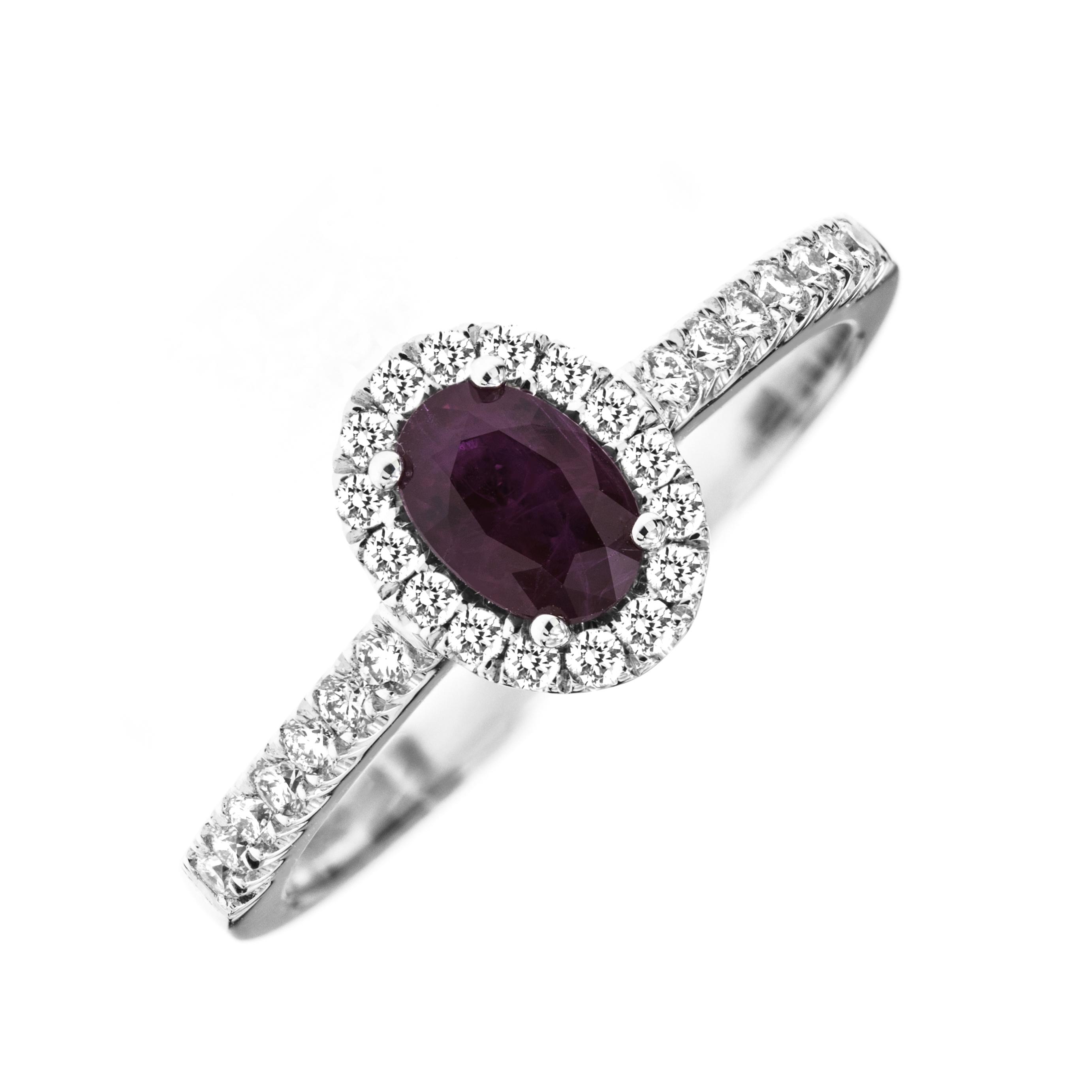 Inel Rubin si Diamante Dama Aur Alb 18kt cu un Rubin Oval si Diamante Rotunde-img1