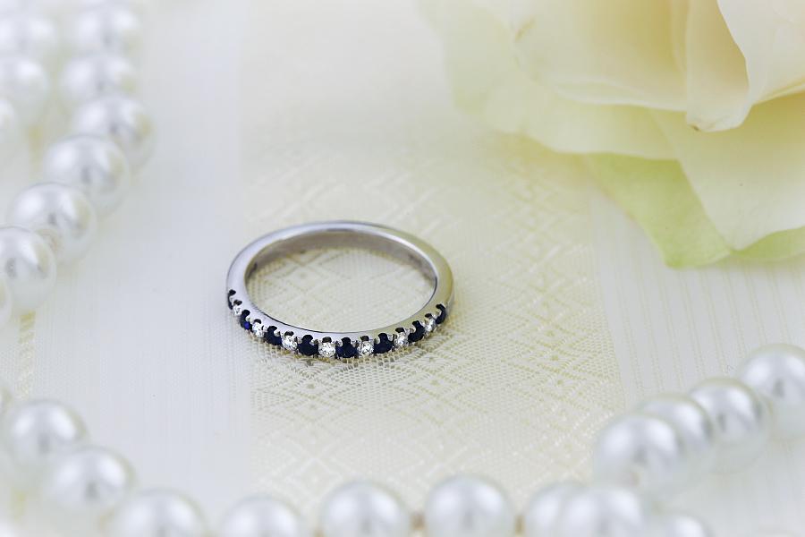 Inel cu Safir si Diamant Dama Aur Alb 18kt cu 15 Pietre, 8 Safire si 7 Diamante-img1