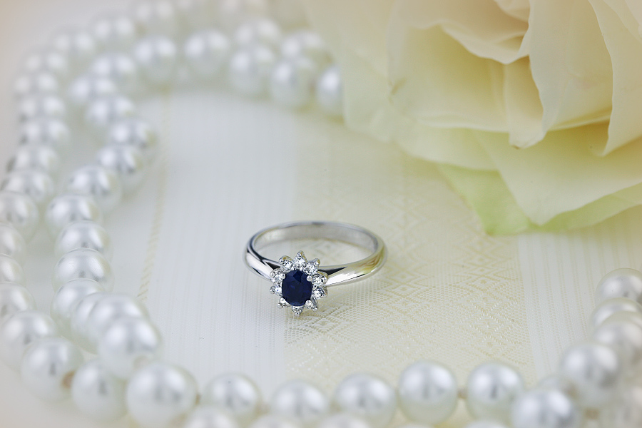 Sapphire and Diamond Cluster Ring for Women in 18ct white ...