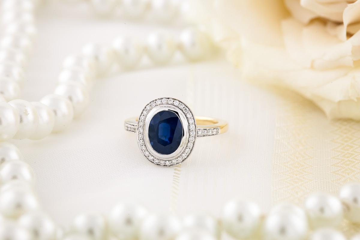 Inel Elegant cu Safir si Diamante Dama Aur Galben si Aur Alb 18kt-img1