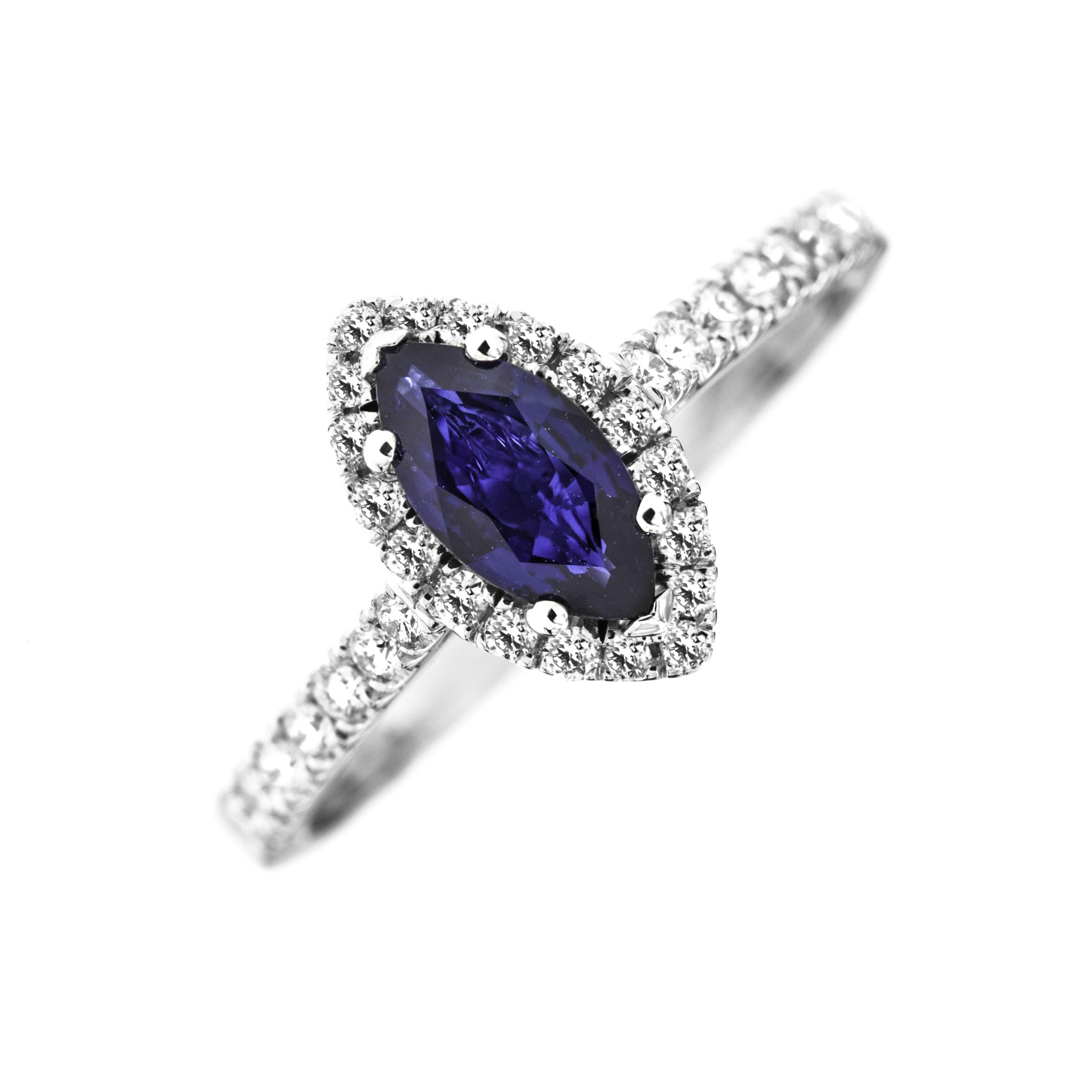 RDS778W-Inel Cocktail/Inel cu Safir si Diamante Dama Aur Alb 18kt cu Safir Forma Marchiza si Diamante Rotunde Mici-img1