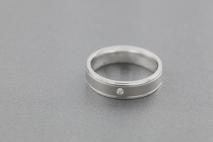 Diamond Ring/Diamond set Wedding Ring for Men in palladium with one round brilliant cut diamond, soft courted profile-img1