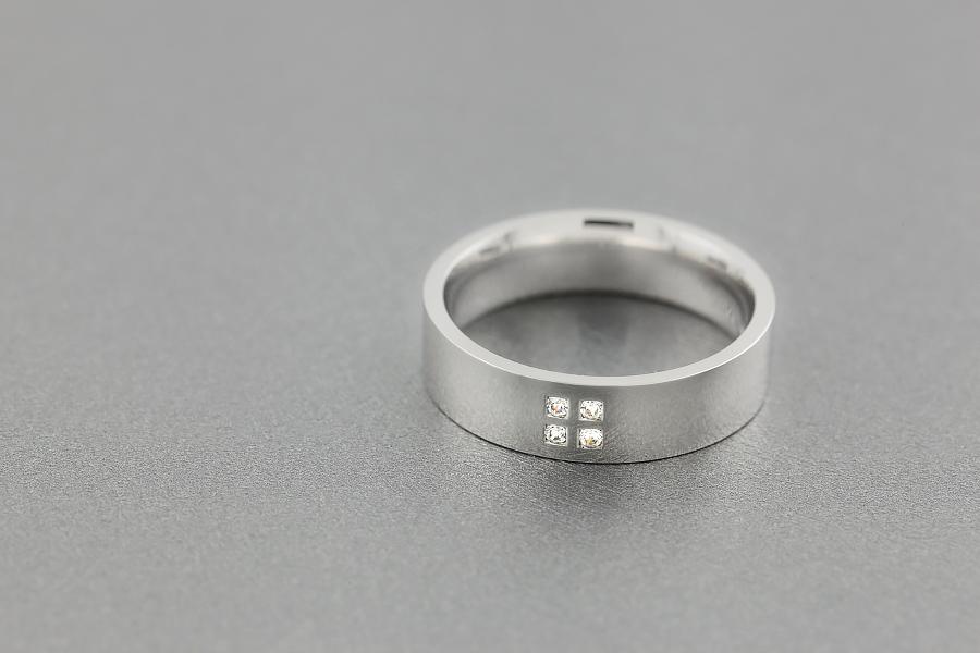 Verigheta cu Diamant Barbat Aur Alb 18kt cu 4 Diamante Rotund Briliant in Centru Exterior Plat Interior Rotunjit-img1