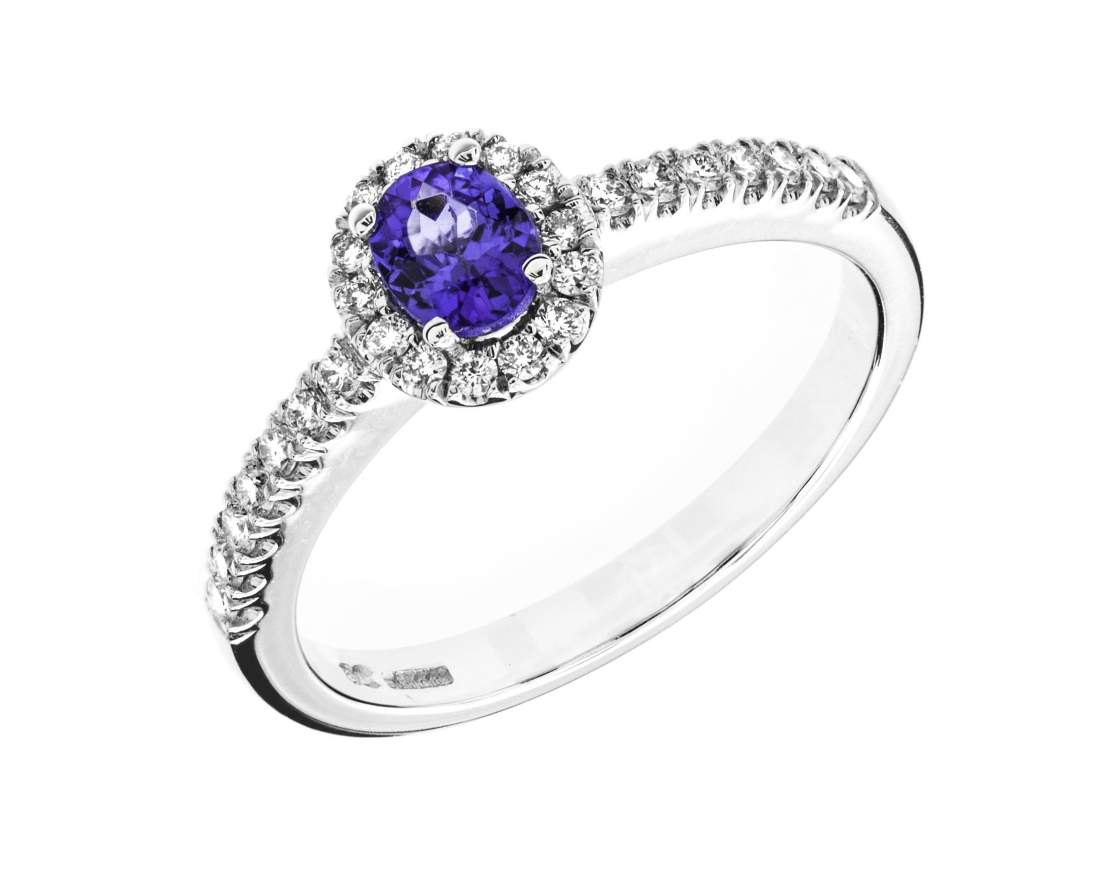 Inel Tanzanit si Diamante Dama Aur Alb 18kt cu un Tanzanit Oval si Diamante Rotunde-img1