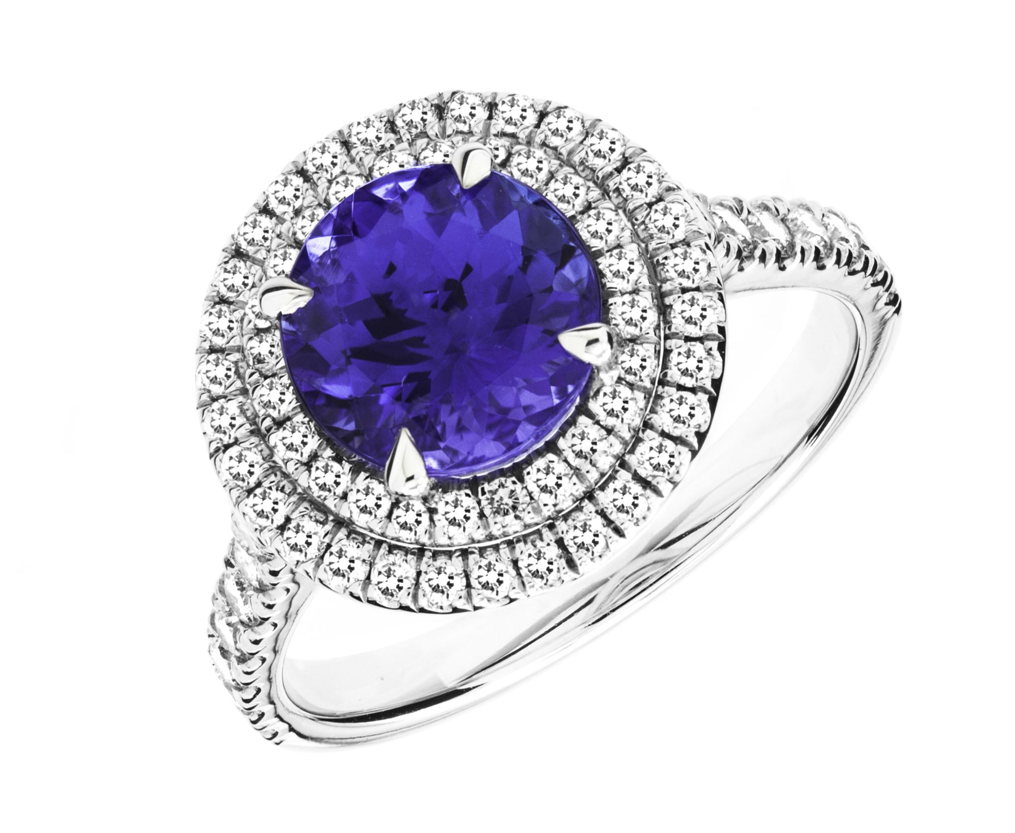 RDT777W-Inel cu Tanzanit si Diamant Dama Aur Alb 18kt cu un Tanzanit Rotund Inconjurat de 68 Diamante Rotund Briliant, Stil Halo-img1