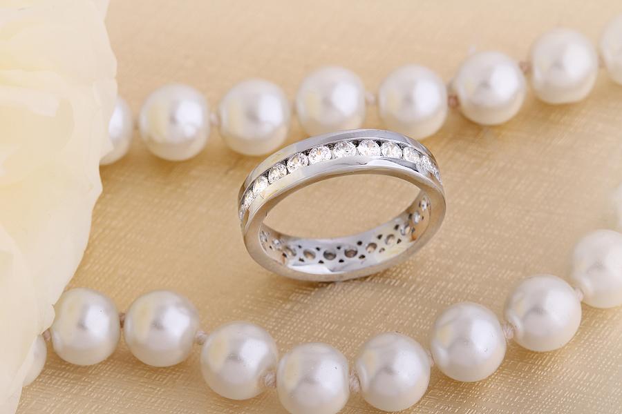 Verigheta cu Diamant/Inel Eternity Dama Aur Alb 18kt cu Diamante Rotund Briliant de Jur Imprejur pe Inel-img1