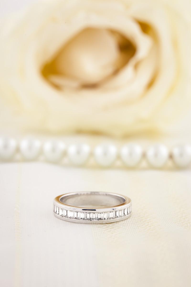 Verigheta cu Diamant/Inel Eternity Dama Aur Alb 18kt cu 17 Diamante Forma Bagheta-img1