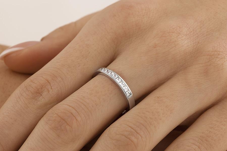 Verigheta cu Diamant Dama Aur Alb 18kt cu 9 Diamante Princess Setate cu Canal-img1