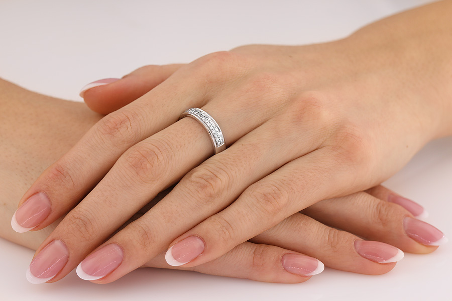 Verigheta cu Diamant/Inel Eternity Dama Aur Alb 18kt cu 38 Diamante Rotund Briliant in 2 Randuri Setate cu Gheare-img1