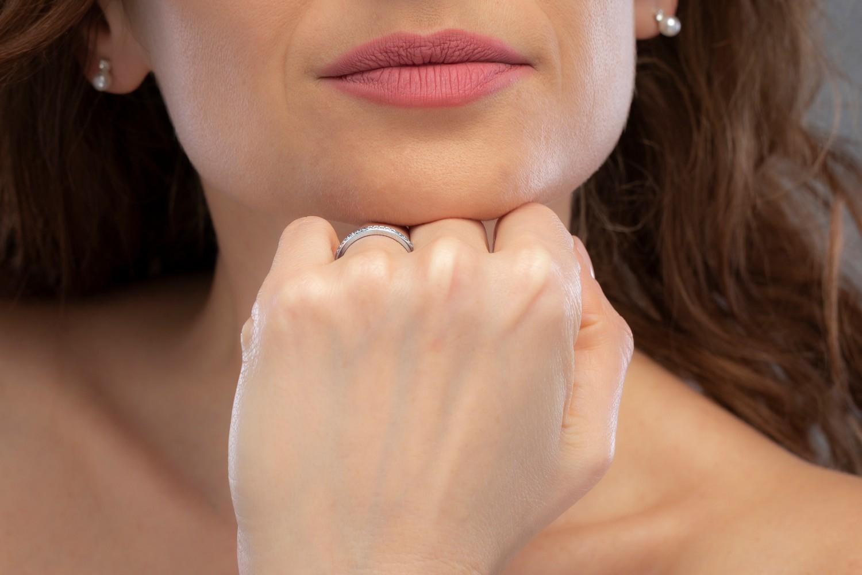 Verigheta cu Diamant/ inel Eternity Dama Aur Alb, 18kt cu 19 Diamante Rotund Briliant, Profil Bombat, 2.75mm-img1