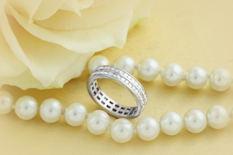 Verigheta cu Diamant/Inel Eternity Dama Aur Alb 18kt cu Diamante Princess in 2 Randuri-img1