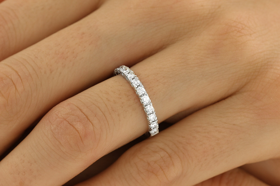 Verigheta cu Diamant/inel Eternity Dama Aur Alb, 18Kt cu 15 Diamante Rotund Briliant 2.5mm-img1