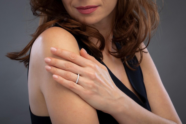 Verigheta cu Diamant/inel Eternity Dama Platina cu 15 Diamante Rotund Briliant 2.5mm-img1