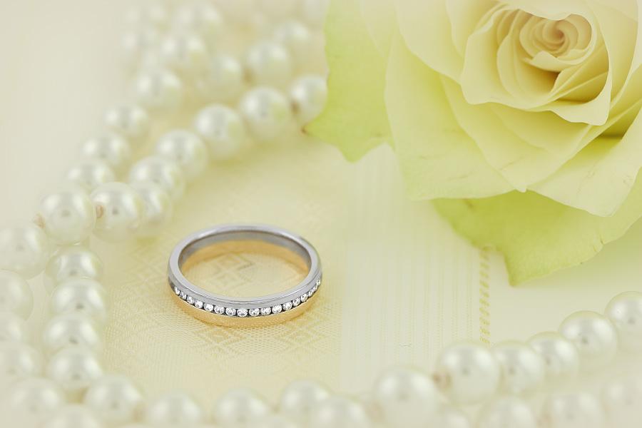 Verigheta cu Diamant Dama Aur Alb si Aur Roz 18kt cu 17 Diamante Rotund Briliant in Setare Rub-Over Profil Rotunjit Latimea 4.25mm-img1
