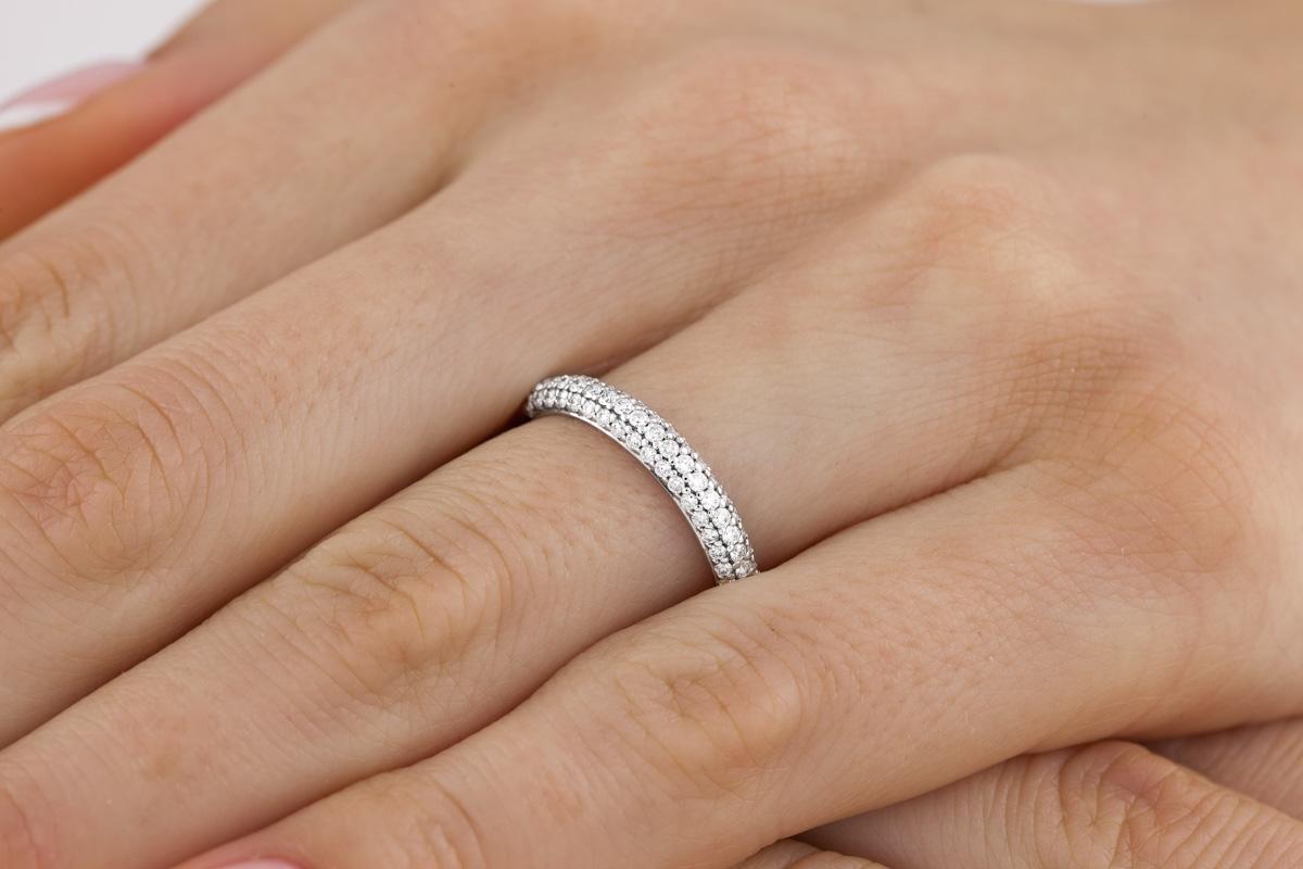 Verigheta cu Diamant/inel Eternity Dama Aur Alb, 18kt cu Diamante Rotund Briliant-img1