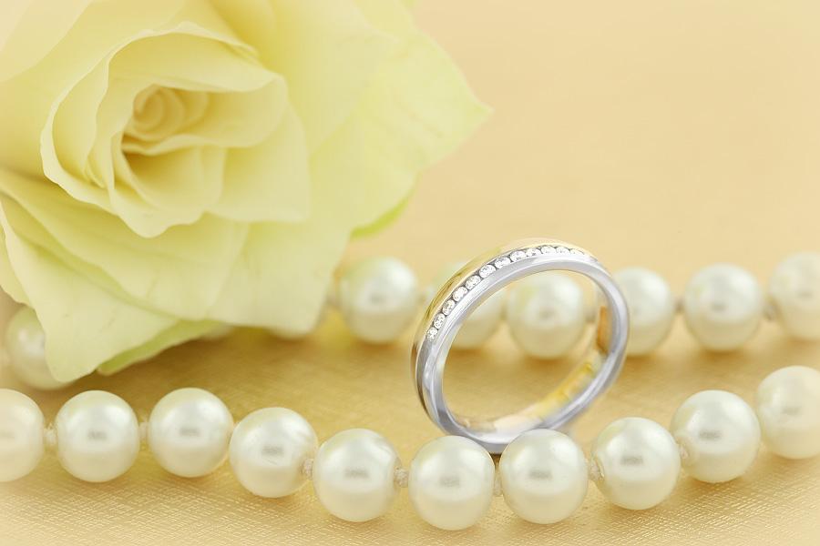 Verigheta cu Diamant Dama Aur Alb si Aur Roz 18kt cu Diamante Rotund Briliant de Jur Imprejur, Profil Rotunjit, Latime 4.25mm-img1