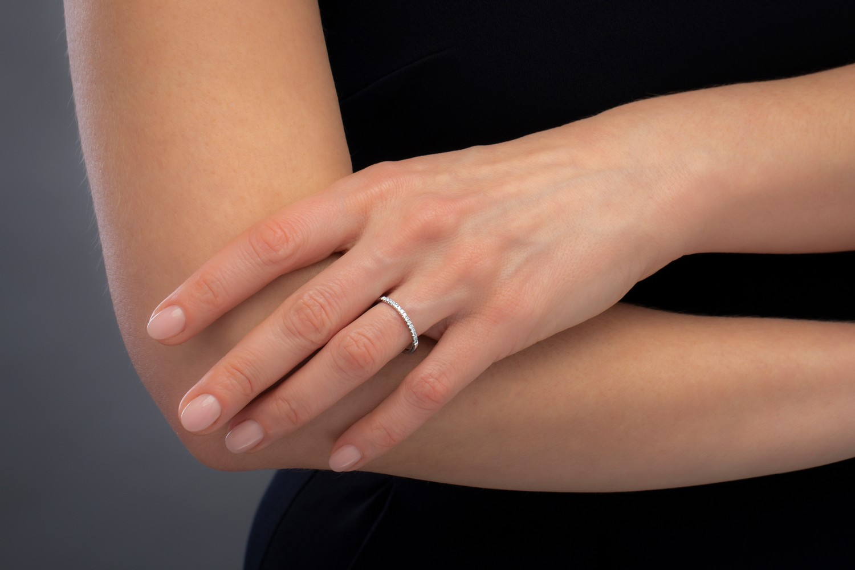Verigheta cu Diamant/ Inel Eternity Dama Aur Alb 18kt cu 15 Diamante Rotunde in Setare Gheare-img1